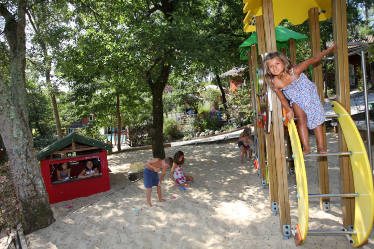 Playground area for children in Messanges holiday resort, Landes.